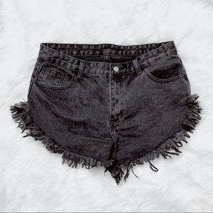 SHEIN Black distressed denim shorts